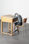 Sofie Muller: Clarysse (SM/S 1), 2011, Patinated Bronze and Wooden Desks, H 97 cm