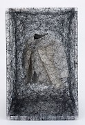 Chiharu Shiota, State of Being  #32 (CS/ O 2), 2010, Plexiglass, Dress, Thread, 70cm x 45cm x 45cm